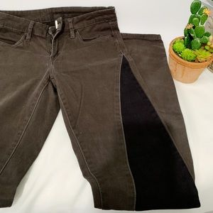 Slate Grey and Charcoal Suede Velvet Skinny Jeans